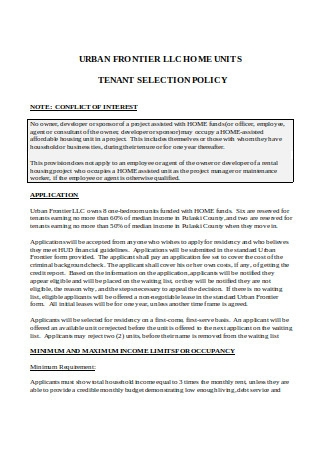 Sample Tenant Selection Policy