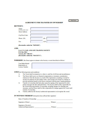 Sample Transfer of Ownership Agreement Form