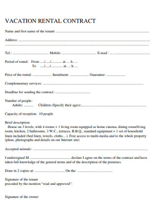 Sample Vacation Rental Contract