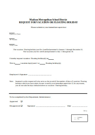 Sample Vacation Request Letter