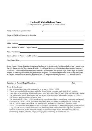 Sample Video Location Release Form