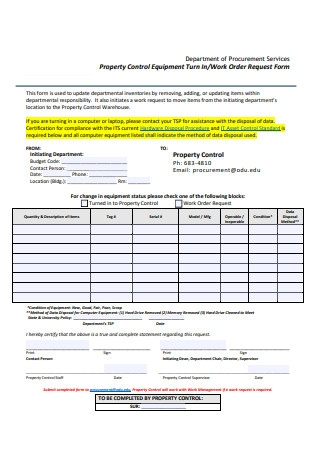 Sample Work Order Request Form Example
