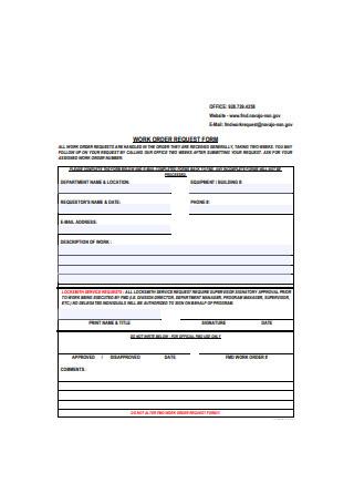 Sample Work Order Request Form
