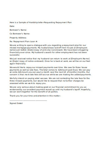 Sample of Hardship Letter Requesting Repayment Plan