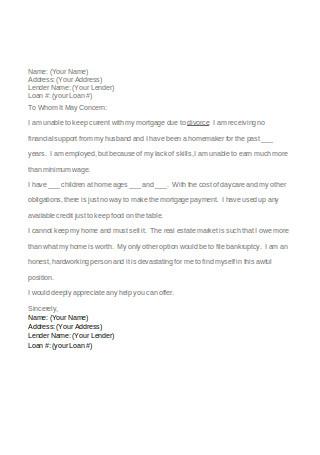 Sample of Hardship Letter for Mortgage Finance