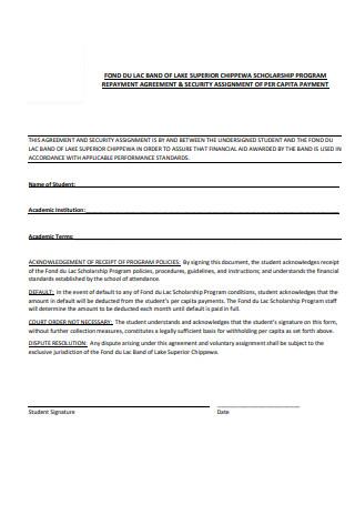 Scholarship Repayment Agreement Format