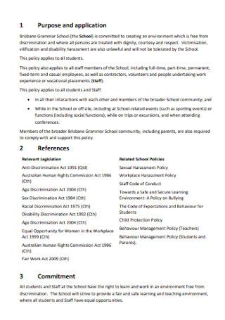 School Anti discrimination Policy