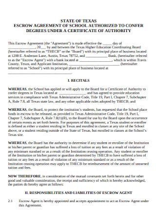 School Authorized Escrow Agreement