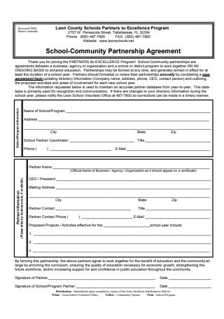 School Community Partnership Agreement