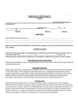 School Service Contract