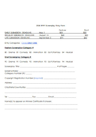 Screenplay Entry Form