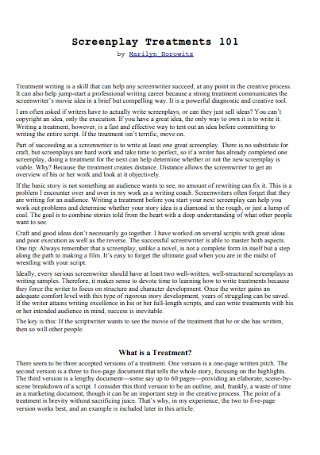 Screenplay Treatment Template