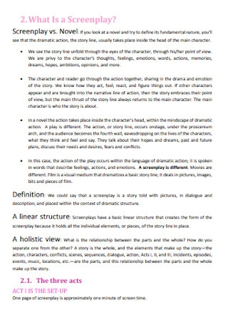 Screenplays Summary Template