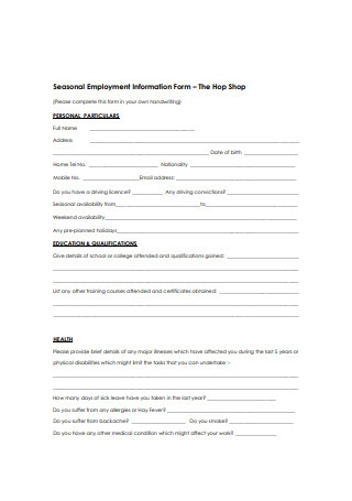 Seasonal Employment Information Form