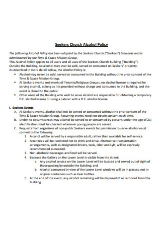 Seekers Church Alcohol Policy