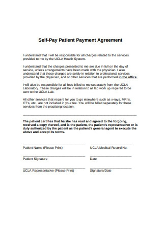 Self Pay Patient Payment Agreement