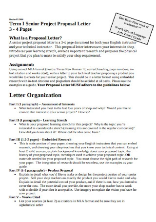 Senior Project Proposal Letter