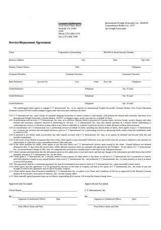 Service Repayment Agreement
