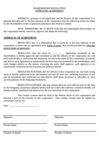 Sharehloder Resolution Approving Agreement