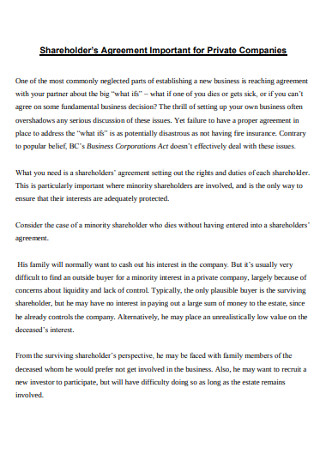 Shareholder's Agreement for Private Companies