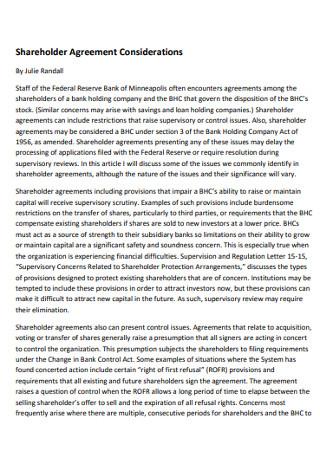 Shareholder Agreement Considerations