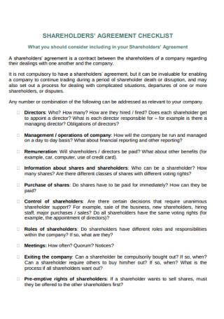 Shareholders Agreement Checklist