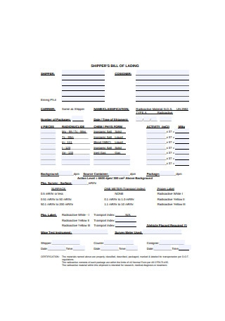 Shippers Bill of Lading Form