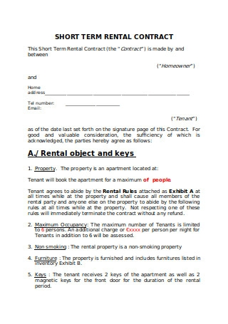 Short Term Rental Contract