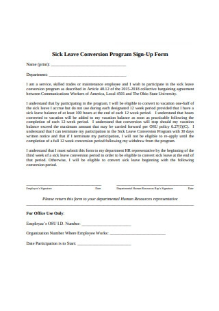 Sick Leave Conversion Program Sign Up Form
