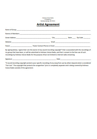 Simple Artist Agreement Format