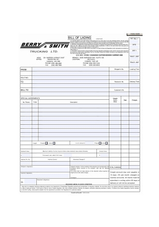 Simple Bill of Lading Form Format