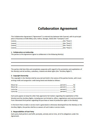 Simple Collaboration Agreement Example