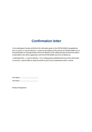 Simple Confirmation letter