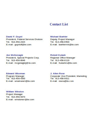 Simple Contact and Email List