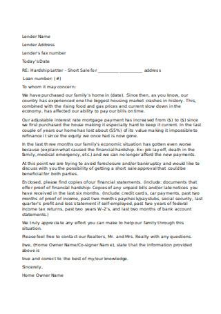 Simple Format of Hardship Letter