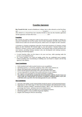 Simple Franchise Agreement Format