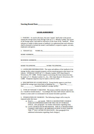 Simple Lease Agreement Example