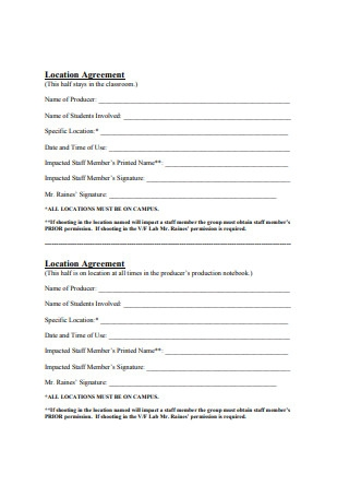Simple Location Agreement Format