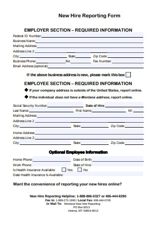 Simple New Hire Reporting Form