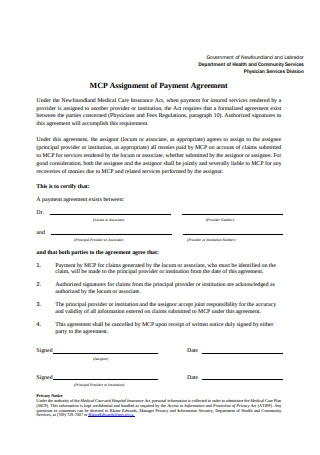 Simple Payment Agreement