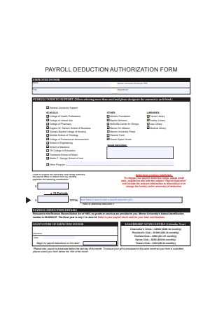 Simple Payroll Deduction Authorization Form Example