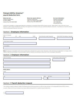 Simple Payroll Deduction Form