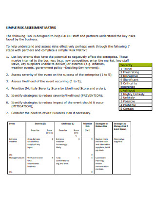 Simple Risk Assessment Matrix in PDF