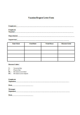 Simple Vacation Request Letter Form