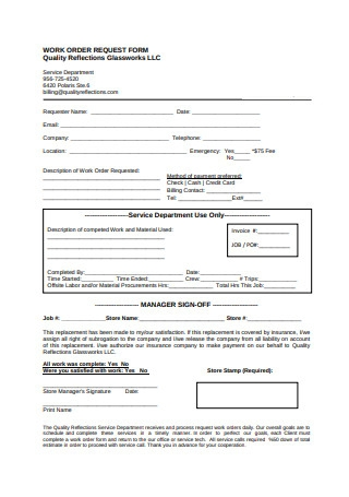 Simple Work Order Request Form