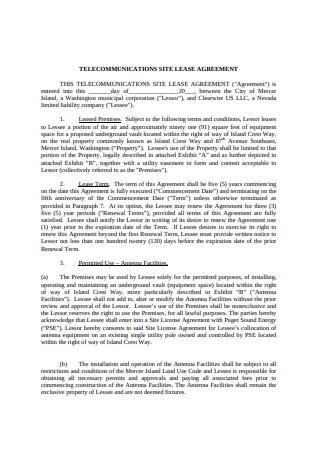 Site Lease Agreement Format