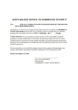 Sixty 60 Day Notice to Terminate Tenancy