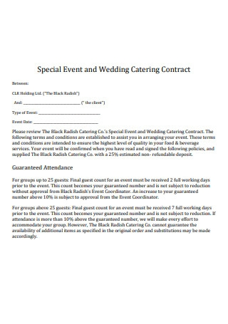 Special Event and Wedding Catering Contract