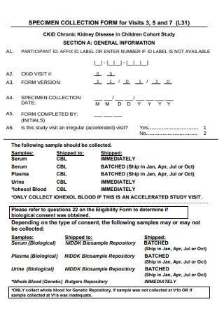 Speciment Collection Form