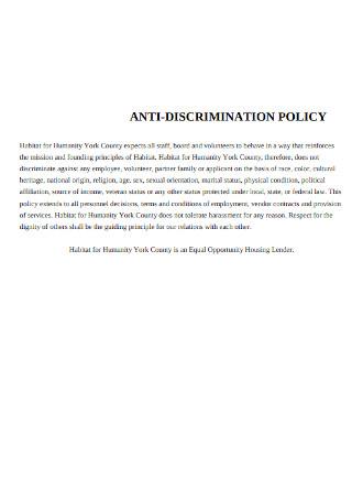 Staff Anti discrimination Policy